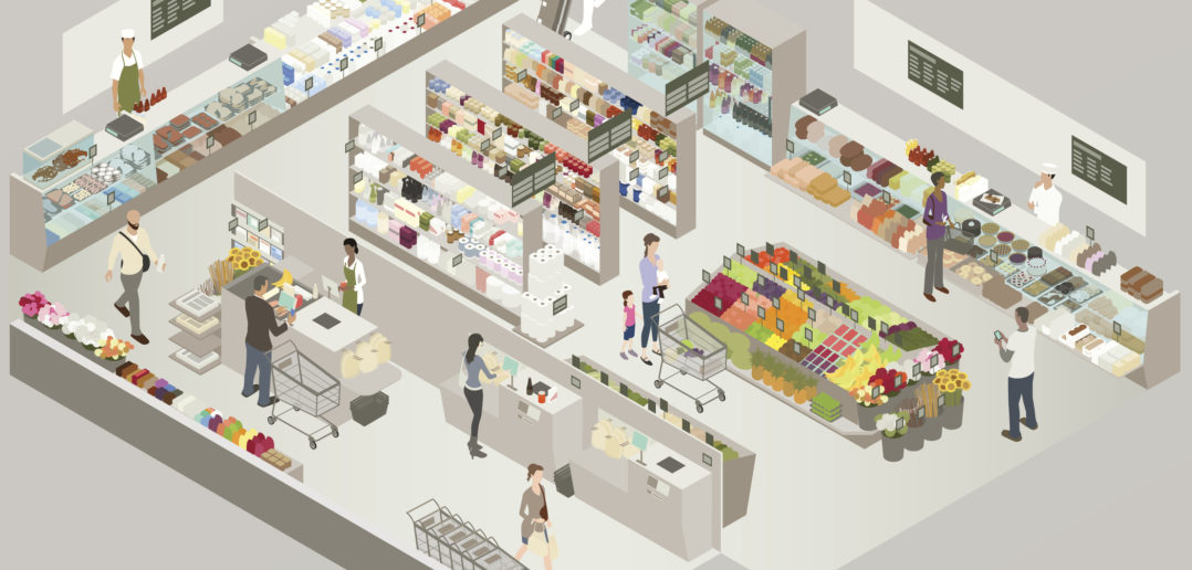 Grocery Store Cutaway Illustration © mathisworks/Getty Images