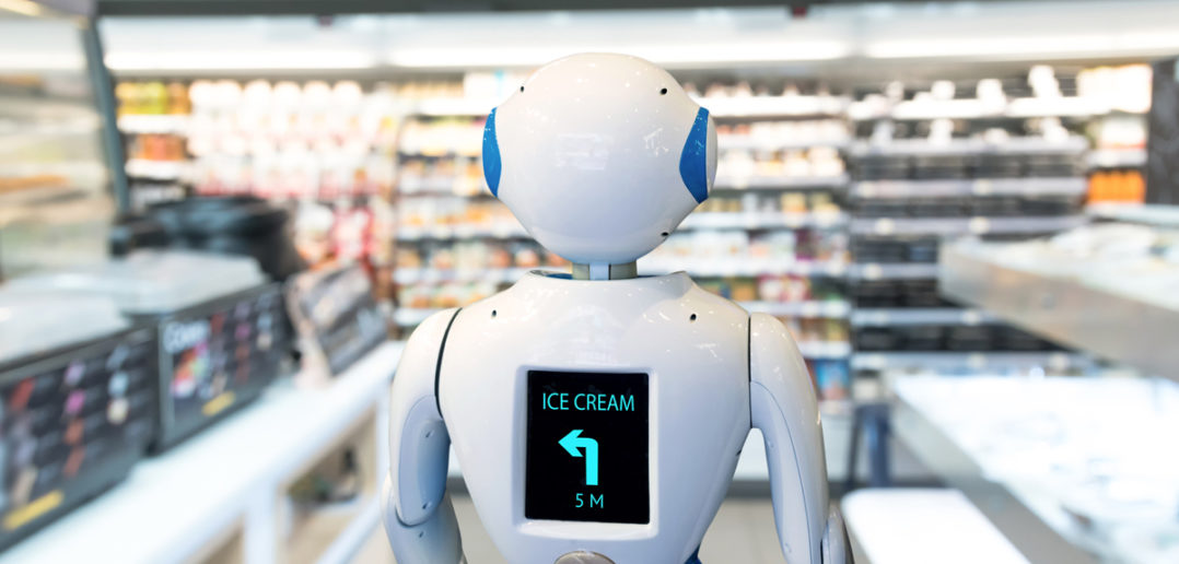 Smart retail , robot assistant service , robo advisor navigation technology in department store. Robot walk lead to guide customer to find items © JIRAROJ PRADITCHAROENKUL/GettyImages